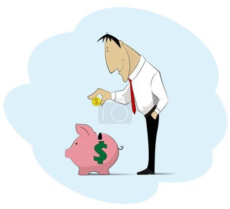 Man collecting money into piggy bank.