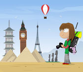 Girl travels the world