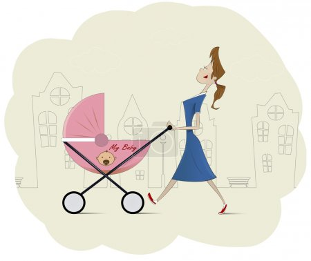 Maman heureuse avec son bébé dans le Landau