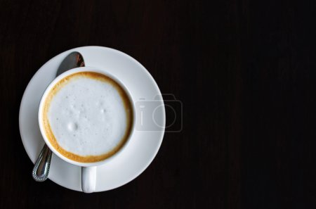 Top view of a cup of coffee