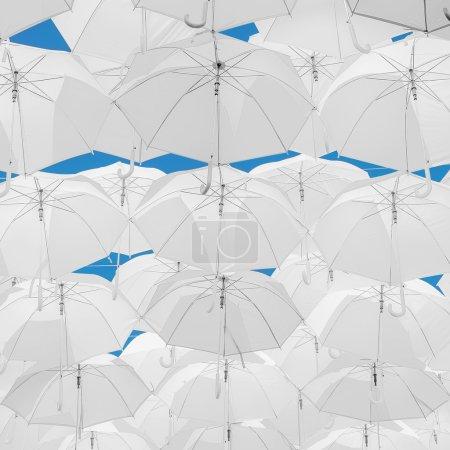 White Umbrella decorations.