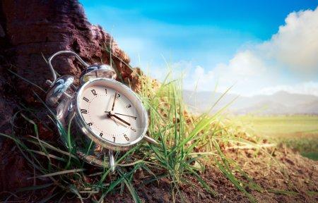 Photo pour Réveil assis dans l'herbe par une journée ensoleillée. Concept de temps - image libre de droit
