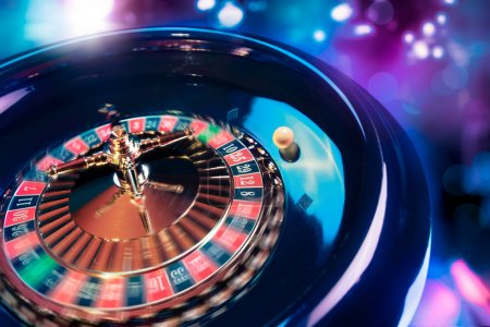 Roulette wheel in motion