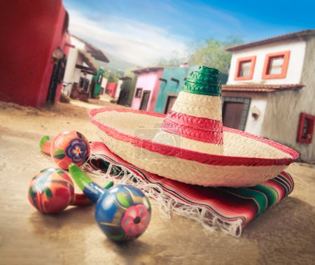 "Mexican hat on a ""serape"" in  village"
