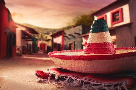 """Mexican hat """"sombrero"""" on a """"serape"""""""