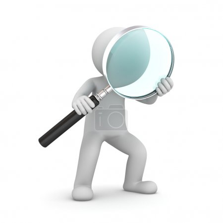 Photo for 3d man standing and holding magnifying glass isolated over white background - Royalty Free Image