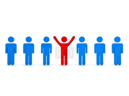 Photo pour Se démarquer de la foule et le concept différent, l'homme rouge debout avec les bras grands ouverts avec d'autres personnes bleues sur fond blanc - image libre de droit
