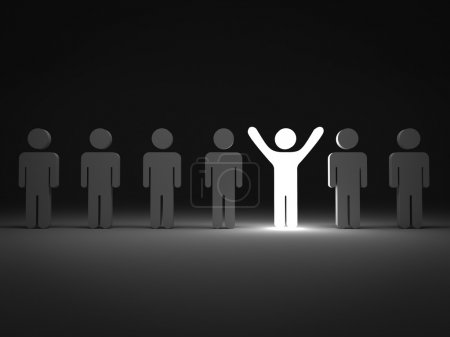 Stand out from the crowd and different concept , One light man standing with arms wide open