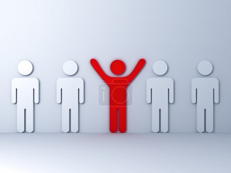 Stand out from the crowd and different concept , One red man standing with arms wide open with white
