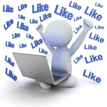 Photo pour Très heureux homme 3d assis sur blanc au sol et ordinateur portable sur ses genoux isolé sur fond blanc avec de nombreux comme les mots du texte - image libre de droit