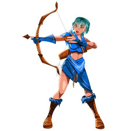 Illustration pour La fille Archer dans un costume bleu avec un arc à la main isolé sur fond blanc - image libre de droit
