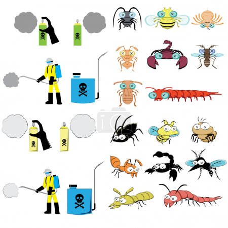 pest control graphic include sprayer, cockroach, fly