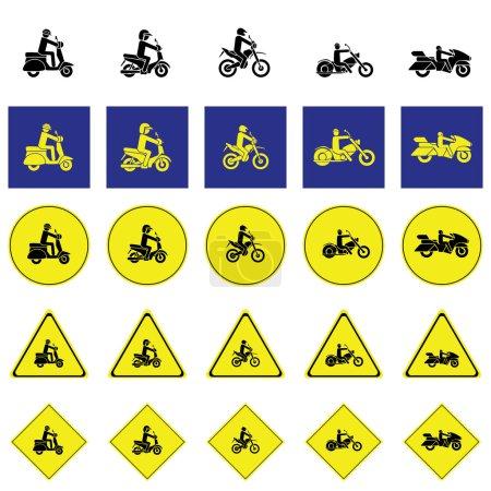 Illustration pour Panneau d'avertissement de l'homme chevauchant divers types de motos comprennent scooter, enduro, hélico, randonnée - image libre de droit