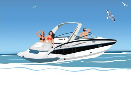 Illustration for Young women and men resting on yacht, group of friends, vector illustration - Royalty Free Image