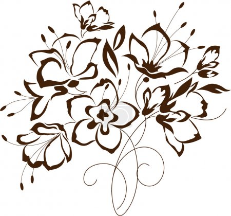 Illustration for Floral design, bouquet of stylized flowers, vector illustration - Royalty Free Image
