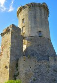 Ruins of medieval fortress overlooking the ancient city of Velia - Ascea, Italy