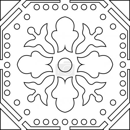 Unique coloring book square page for adults - seamless pattern t