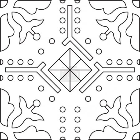 Unique coloring book square page for adults - seamless pattern tile