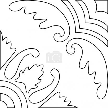 Unique coloring book square page for adults - pattern tile design