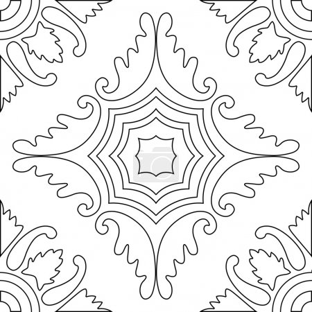 Unique coloring book square page for adults - seamless pattern tile design