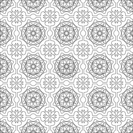 Unique coloring book square page for adults - seamless pattern tile design, joy to older children and adult colorists, who like line art and creation.