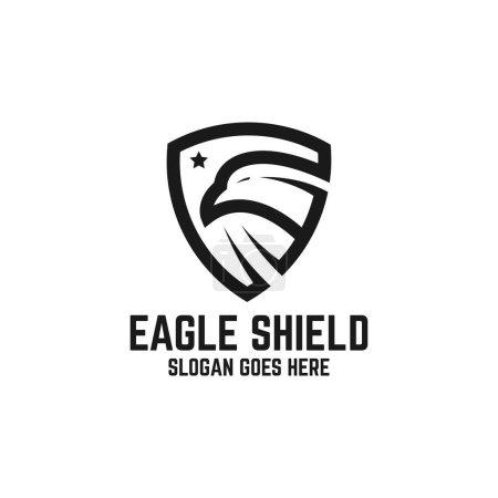 Illustration pour Garde de faucon aigle avec le vecteur de conception de logo d'étoile, bouclier animal avec les inspirations de logo d'art de ligne - image libre de droit