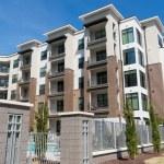 Modern apartment building exterior...