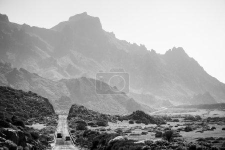 Black and white highland highway, Tenerife, Canary Island, Spain
