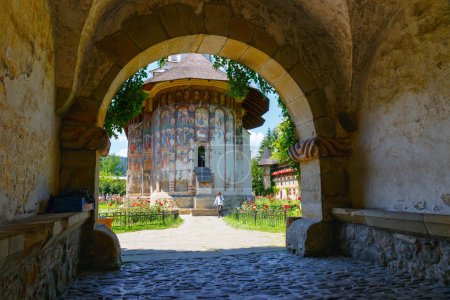 Vatra Moldovitei, Romania, July 06, 2015: The Moldovi?a Monastery is a Romanian Orthodox monastery situated in the commune of Vatra Moldovi?ei, Suceava County, Moldavia, Romania