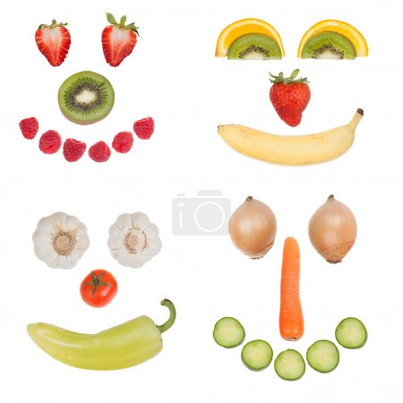 Photo for Happy fruit and vegetable faces collection, isolated on white background - Royalty Free Image