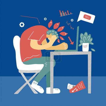 Bad investment. Minor shareholders panic. Stock market crash. Man grabbed his head looking at a computer screen. Collapsing stock prices. Vector flat color illustration.