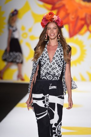 Model walks the runway at Desigual during Mercedes-Benz Fashion Week Spring 2015