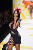 Adriana Lima walks the runway at Desigual during Mercedes-Benz Fashion Week Spring 2015