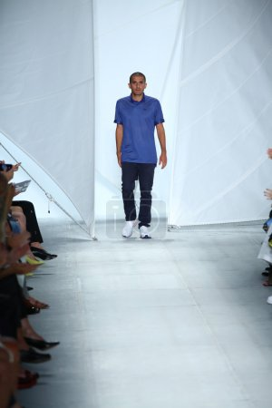 Photo for NEW YORK, NY - SEPTEMBER 06: Fashion Designer Felipe Oliveira Baptista walks the runway at the Lacoste fashion show during Mercedes-Benz Fashion Week Spring 2015 on September 6, 2014 in NYC - Royalty Free Image