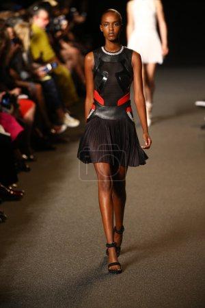 Model walks the runway at the Alexander Wang fashion show