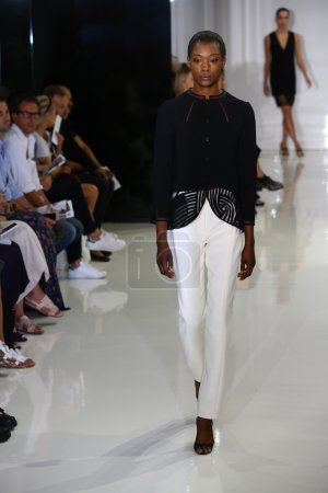 model walks the runway at Ralph Rucci during Mercedes-Benz Fashion Week