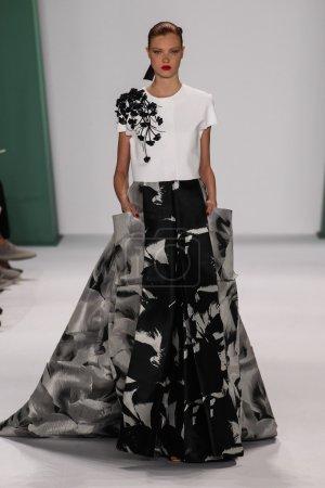 Model Anastasia Ivanova walk the runway at the Carolina Herrera fashion show