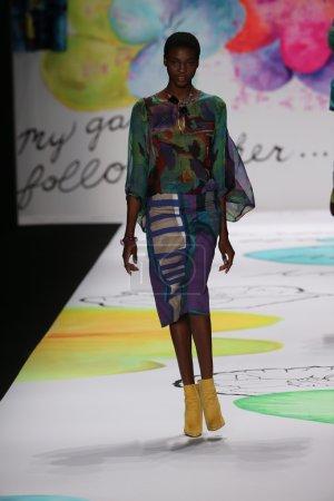 NEW YORK, NY - FEBRUARY 12: A model walks the runw...