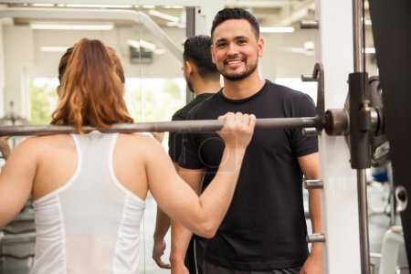 Man working as a personal trainer