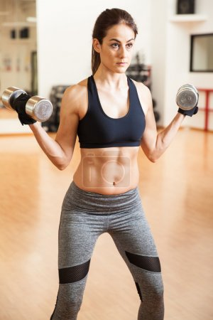 Photo for Fit and strong young woman with abs lifting a pair of dumbbells in a gym as part of her workout - Royalty Free Image