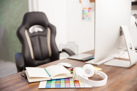 Desk in a graphic designer's office