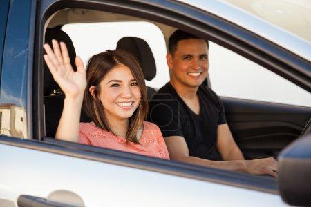 couple saying goodbye