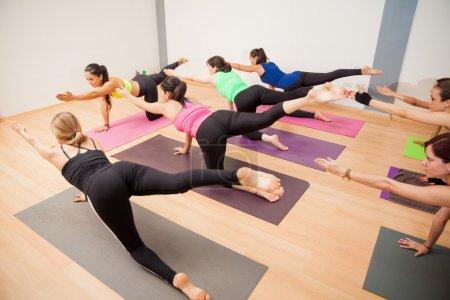 Photo pour Grand groupe de jeunes femmes latines sur quatre pattes, bras et jambe tendue dans un studio d'yoga - image libre de droit
