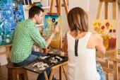 """Постер, картина, фотообои """"взрослых, работающих на их собственные картины"""""""