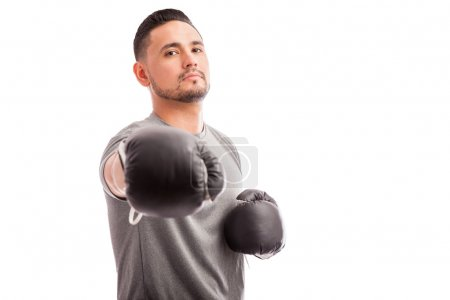 male boxer challenging the camera