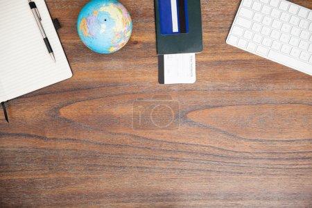 desk of a world traveler