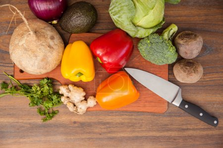 Flat lay of vegetables in cutting board