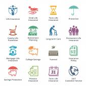 This set contains life insurance icons that can be used for designing and developing websites as well as printed materials and presentations