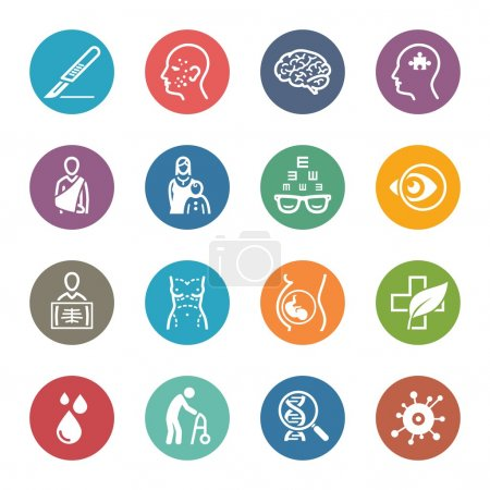 Illustration for This set contains medical specialties icons that can be used for designing and developing websites, as well as printed materials and presentations. - Royalty Free Image