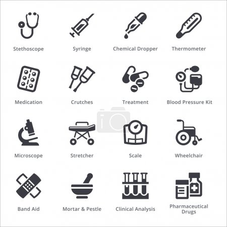 Illustration for This set contains medical equipment & supplies icons that can be used for designing and developing websites, as well as printed materials and presentations. - Royalty Free Image